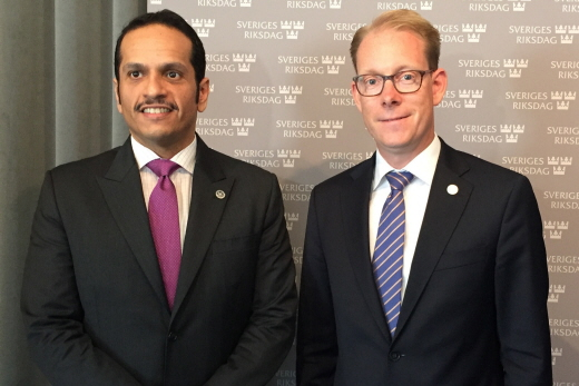 The Qatari Minister of Foreign Affairs Sheikh Mohammed bin Abdulrahman Al Thani and the First Deputy Speaker Tobias Billström.