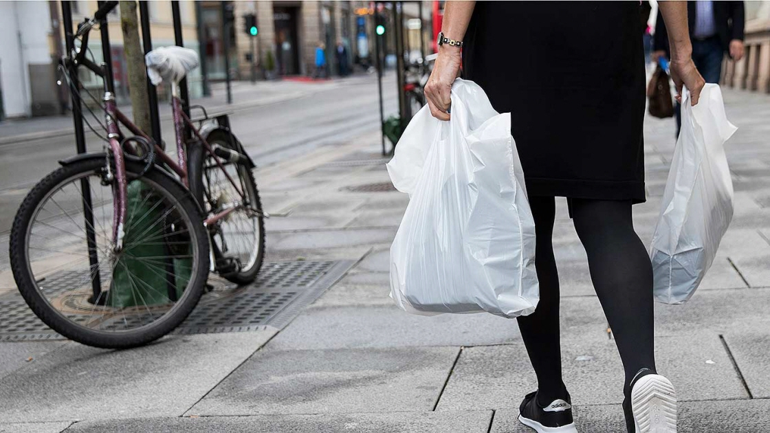 A person is carrying two plastic bags