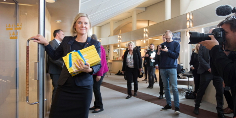 Minister for Finance Magdalena Andersson (Social Democratic Party) comes to the Riksdag with the Government's Budget Bill.