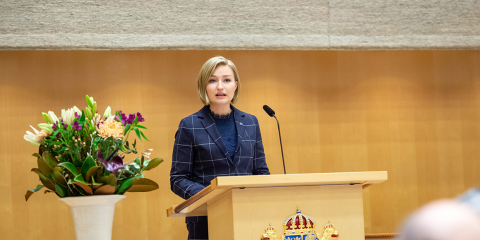 Ebba Busch Thor (Christian Democrats) delivers a speech from the rostrum in the Riksdag.