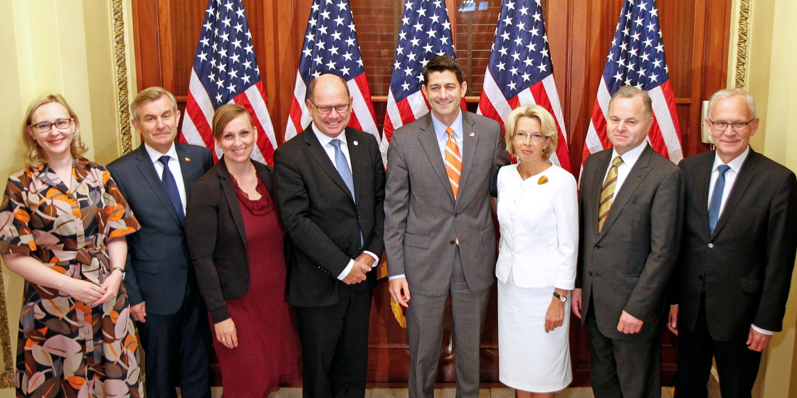 The Nordic–Baltic delegation of Speakers with the Speaker of the United States House of Representatives Paul Ryan