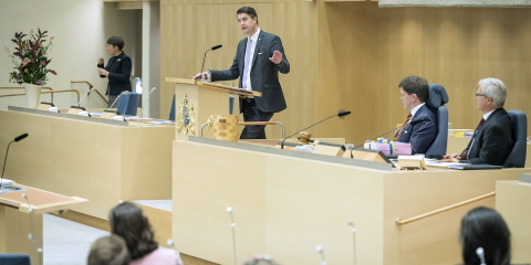 Oscar Sjöstedt (SweDem) debates the Budget Bill for 2020 in the Chamber of the Riksdag.
