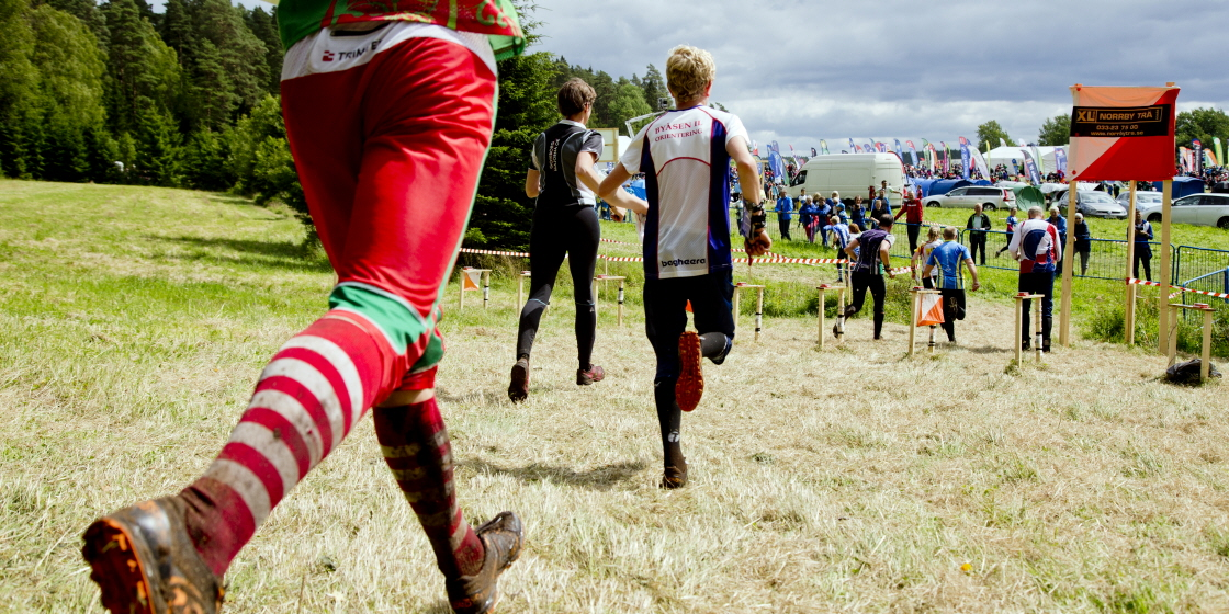 Orienteers run across a grass field towards the target area with spectators and flags.