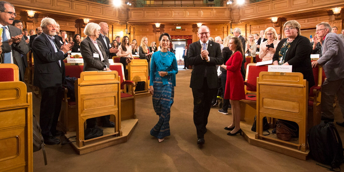 The State Counsellor of Myanmar (Burma) Aung San Suu Kyi and the Speaker Urban Ahlin arrive at the former Second Chamber at the Riksdag where Aung San Suu Kyi's address is to take place