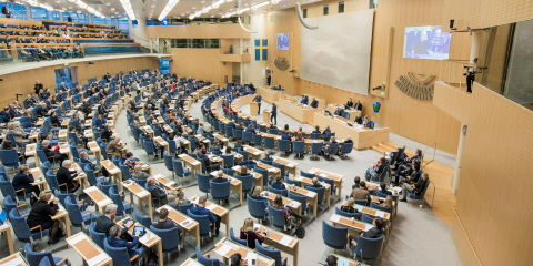 In the Chamber of the Riksdag, debates are held and decisions are taken.
