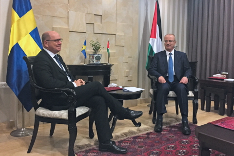 The Speaker Urban Ahlin and the Prime Minister of Palestine Rami Hamdallah.